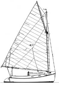 21-foot catboat drawing