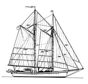 70-foot schooner drawing