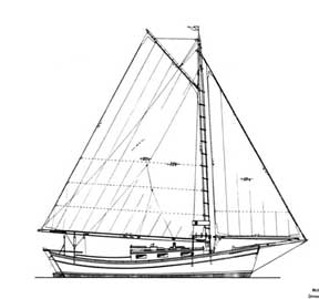 Sunshine, a 33-foot gaff sloop drawing