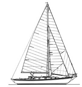 42-foot double-headsail sloop drawing
