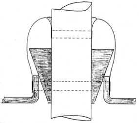 Wedges that hold the mast in column