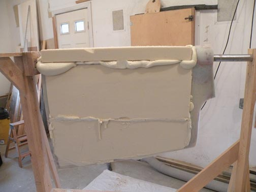 ...then tacked the last rigid foam section in place. He filled the cavity with foam and held the forward section in place until the foam stopped expanding.