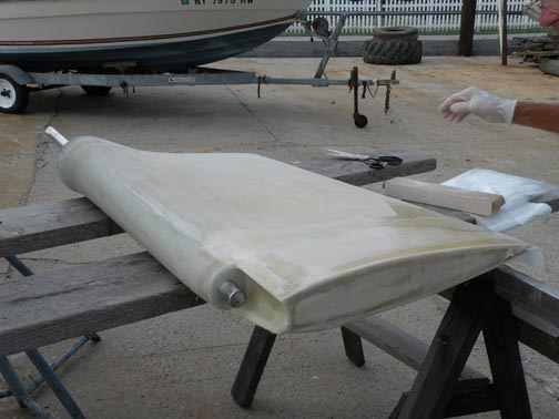 The finished rudder awaits its barrier coat and bottom paint.